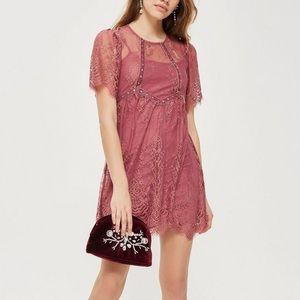 Topshop Mauve/Pink Lace Dress with Velvet Trim